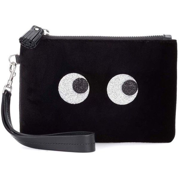 Anya Hindmarch Glitter Eye Small Velvet Pouch ($495) ❤ liked on Polyvore featuring beauty products, beauty accessories, bags & cases, black and anya hindmarch