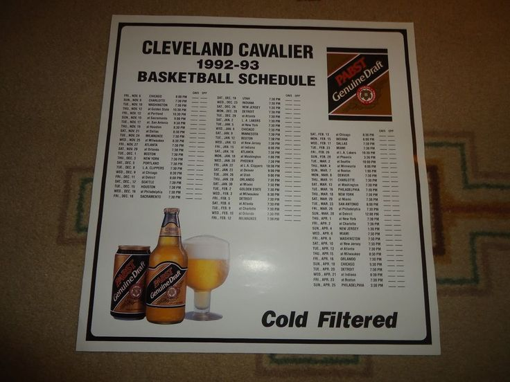 """NBA Cleveland Cavaliers Poster.  1992-1993 Game Schedule. 21.50"""" X 21"""":  2 Avail #ClevelandCavaliers"""