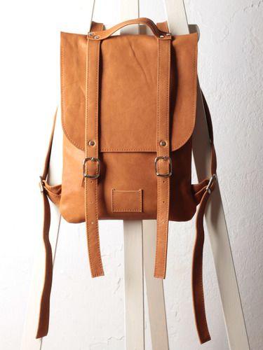 Песочный рюкзак из гладкой кожи. Colorful leather backpack rucksack Kokosina