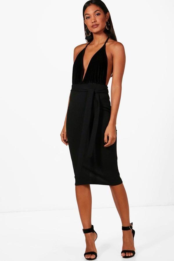 boohoo Ava Tie Waist Crepe Bodycon Midi Skirt