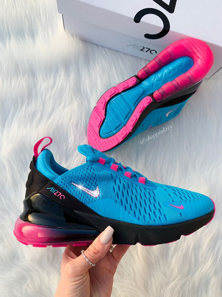 Swarovski Nike Air Max 270 Shoes Blinged Out With Swarovski Crystals Bling Nike Shoes Blue Pink