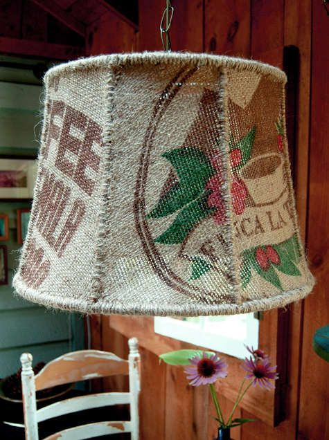 Lamp shade made from coffee bags