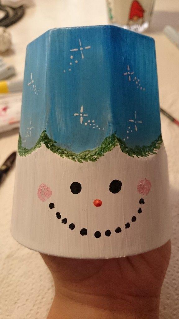 Malet snemand på glas, en juledekoration der passer ind i de fleste hjem.
