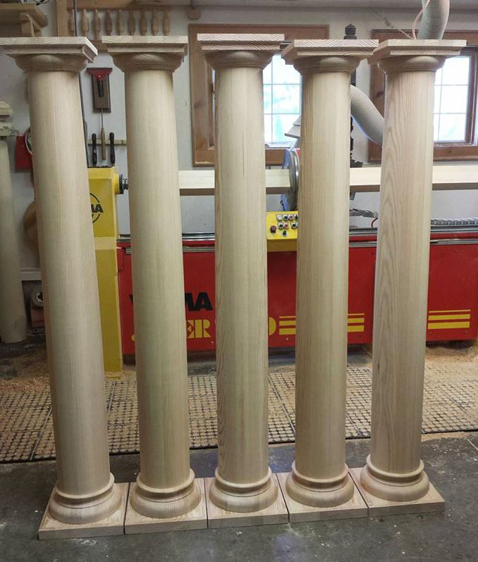 5 custom columns all with slightly different height requirements. These are made from Douglas Fir.
