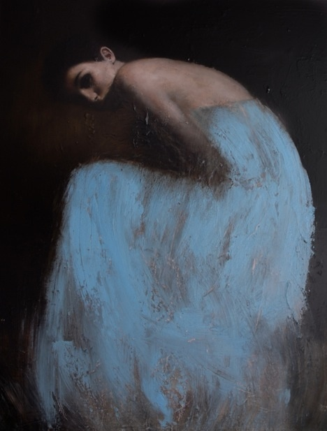 Erin in blue (  52 x 39 in,   oil on canvas)  by Mark Demsteader