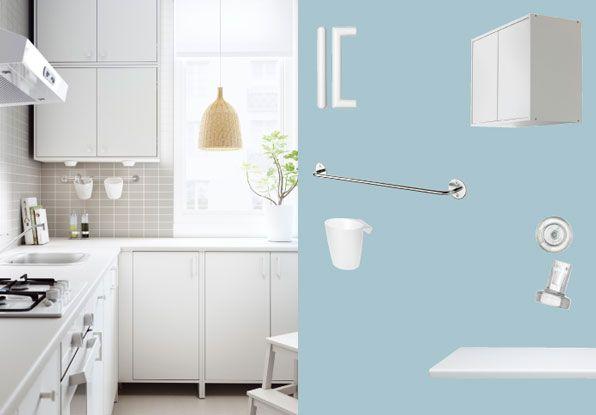 FYNDIG kitchen with white doors/drawers and worktop | Kitchen ... | {Ikea küchenzeile fyndig 31}