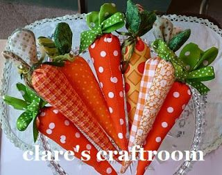 fabric carrots from clare's craftroom  healthy things to put in baby easter basket