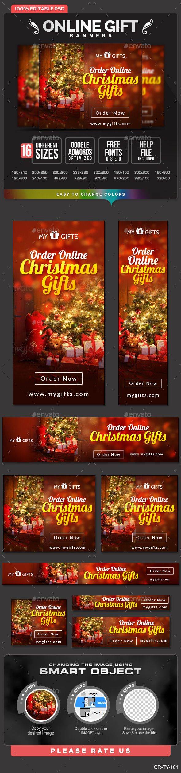 Digital banner design for psd files - Promote Your Products And Services Related To Gifts Niche With This Great Looking Banner Set 16 Awesome Quality Banner Template Psd Files Ready For Your