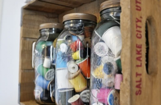 A blog on organization... I want to grow up to be organized someday...: Sewingcraft Rooms, Storage Solutions, Vintage Crafts Rooms, Crates Storage, Organizations, Creative Storage, Sewing Storage, Sewing Rooms, Mason Jars