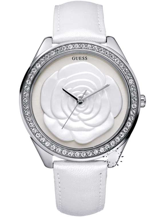 GUESS Crystal Rose Large White Leather Strap Η τιμή μας: 139€ http://www.oroloi.gr/product_info.php?products_id=18426