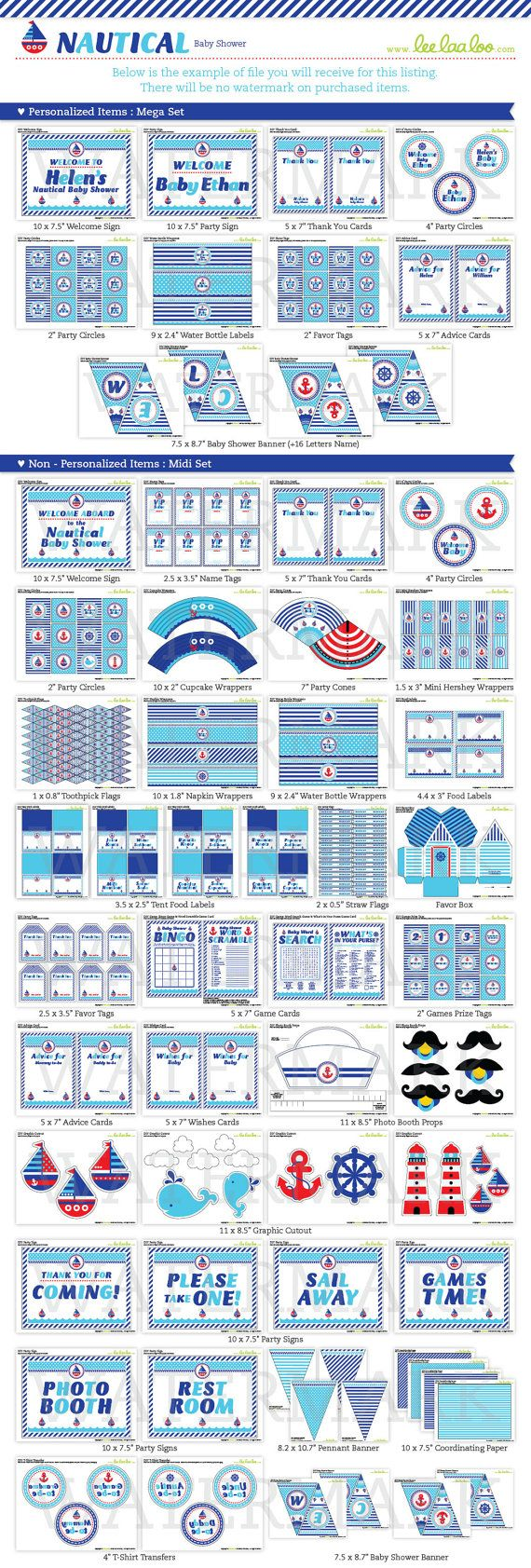 Nautical Baby Shower Package Collection Set Mega by leelaaloo.com