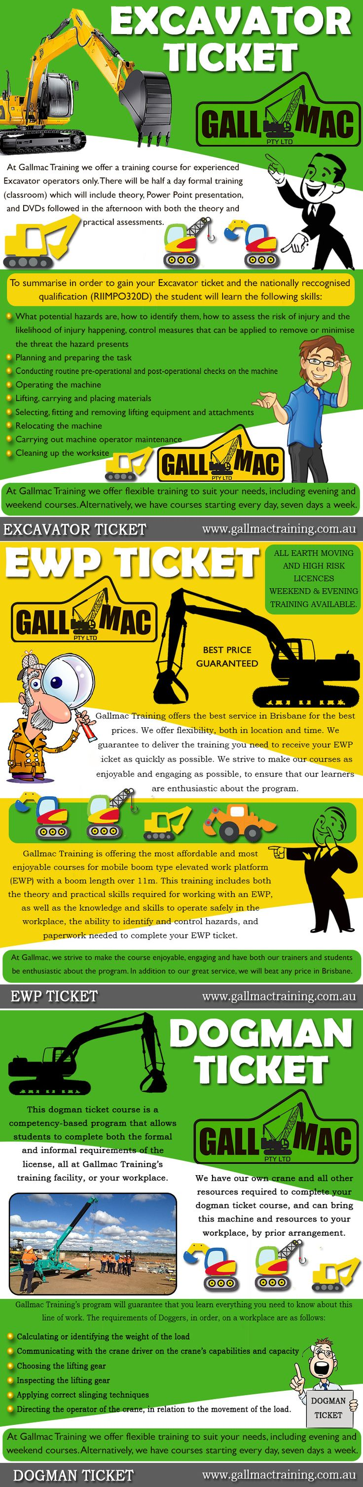 Visit this site http://www.gallmactraining.com.au/excavator-ticket/ for more information on Excavator Ticket.This is your Excavator Ticket or license and will enable you to operate an excavator in any quarry, mine site or civil construction site in Australia. Over the duration of Gallmac Training's EWP Ticket program, learners will gain the knowledge. Browse this site http://www.gallmactraining.com.au/ewp-ticket/ for more information on EWP Ticket.