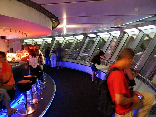 Bar at the observation deck of Berlin TV Tower (203,78 m high above ground)