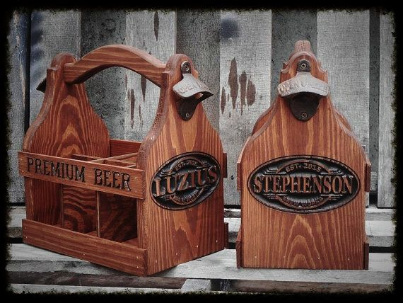 Wood Beer Caddy personalized Wooden Beer Carrier by MVwoodworks