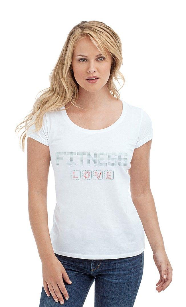 Футболка LOVE FITNESS. Женские футболки прикольные с надписями и принтами.