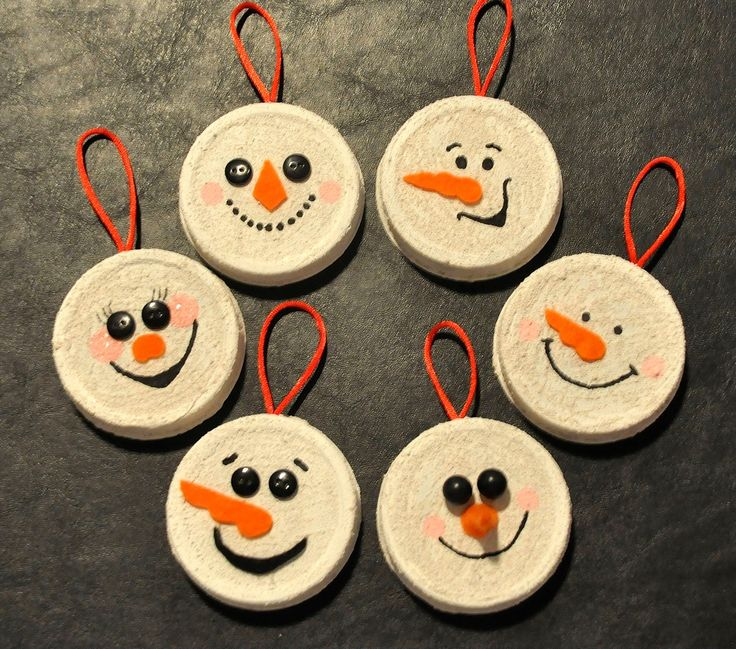 Snowmen Christmas Ornaments Made From Jar Lids