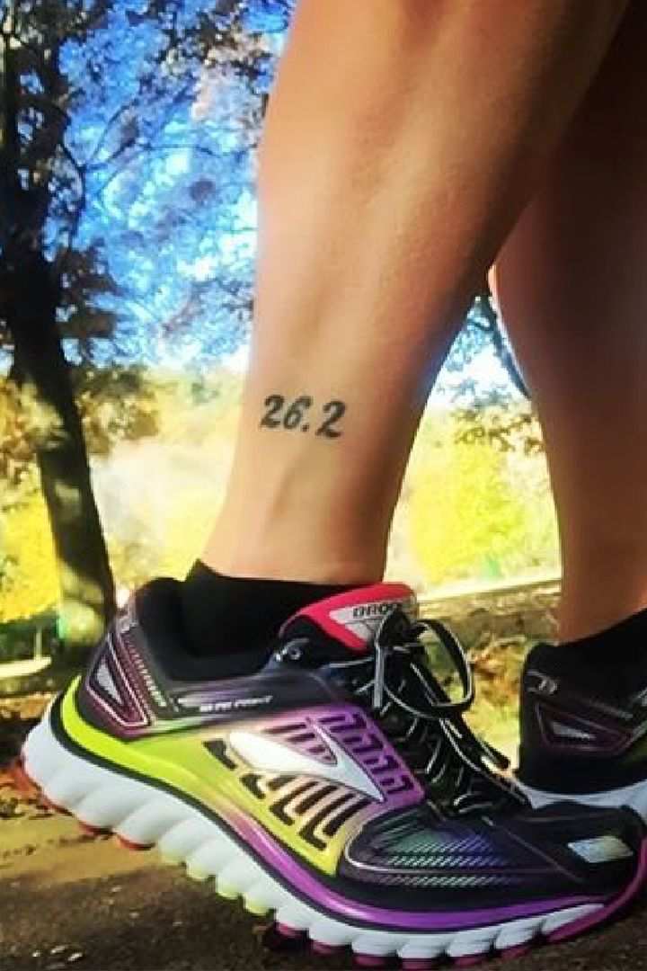 """With city skylines from marathon locations to the chemical compound of """"runner's high"""" drawn out, these creative running tattoos are a permanent medal worn with pride."""
