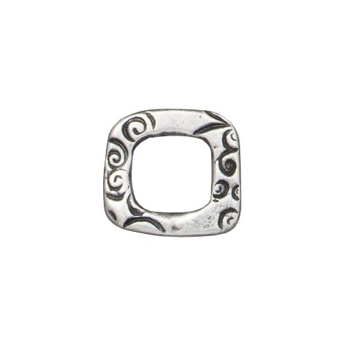 Pewter 12mm Jardin Square Link with an antiqued finish designed and manufactured by TierraCast. Each link is 12mm high x 13mm wide and 1.8mm thick. This link has an organic square shape with a 7mm cut-out center. The link is covered with abstract floral and leaf patterns on either side.