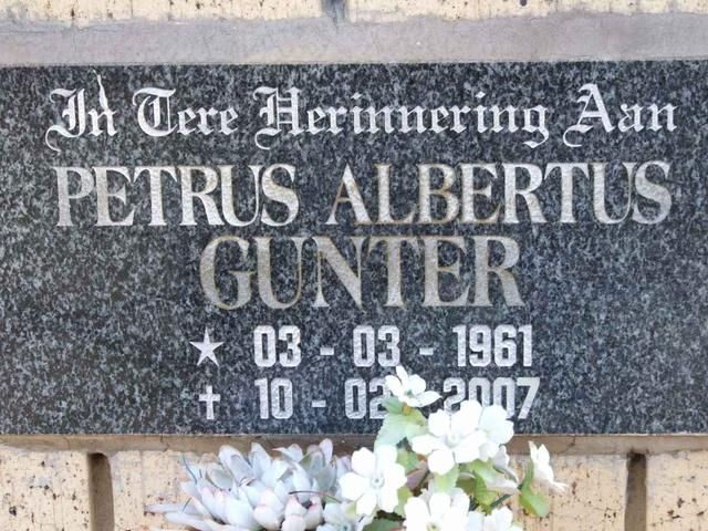 GUNTER Petrus Albertus 1961-2007 Gauteng, VANDERBIJLPARK, NG Kerk Driehoek, Muur van Herinnering