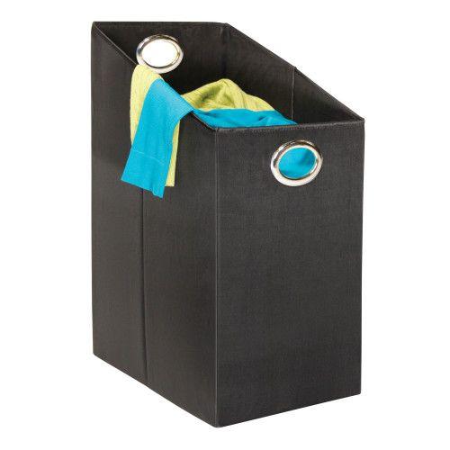 Black Angled laundry hamper.