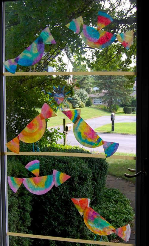 Quick Craft -- Colorful Window Display made with coffee filters!