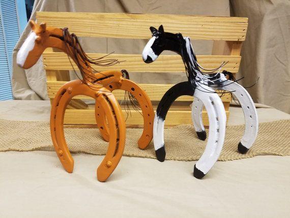 Horse Statue Horseshoe Decor Horseshoe Art by Whoagirldesigns