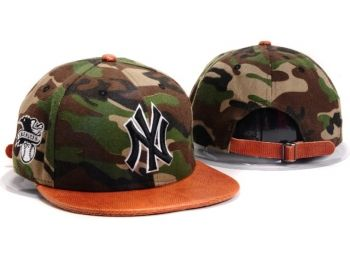 Casquette NY New York Yankees MLB Camo Snapback Orange Casquette New Era Pas Cher