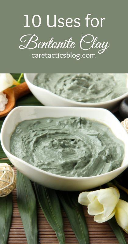 10 Uses for Bentonite Clay ~ Shampoo ~ Heal Burns & Cuts ~ Face Mask ~ Detox Bath ~ Drink to heal digestive problems ~ Reduce illness ~ DIY Deodorant ~ Anti-Itch Cream ~ Gentle Detox ~ Remineralize Teeth