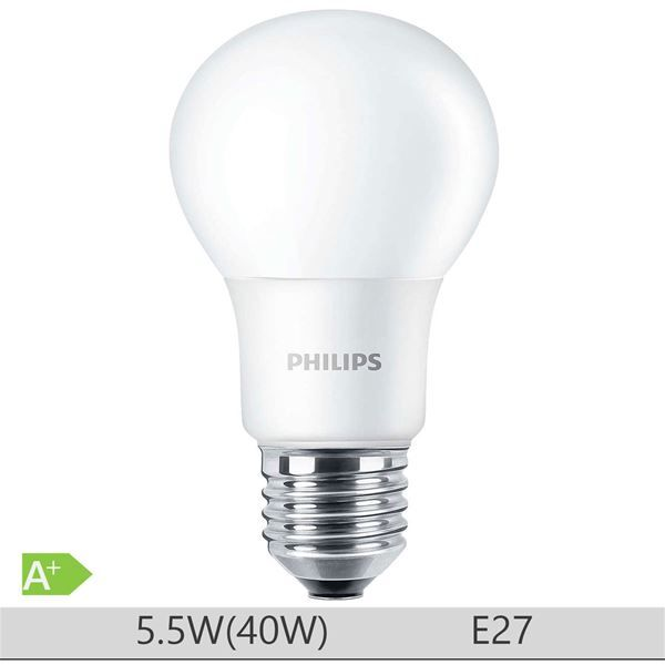 Bec LED Philips 5.5W E27 forma clasica A60, lumina calda http://www.etbm.ro/tag/148/becuri-led-e27