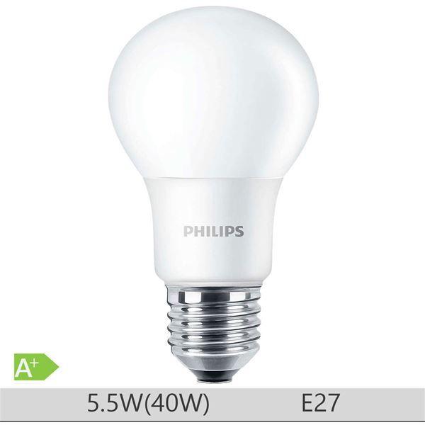 Bec LED Philips 5.5W E27 forma clasica A60, lumina calda http://www.etbm.ro/becuri-led