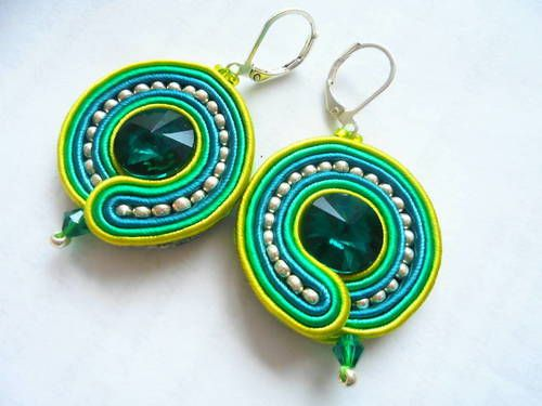 Feur - soutache náušnice #nausnice #handmade #modre #zelene #sperk #soutache #sujtas