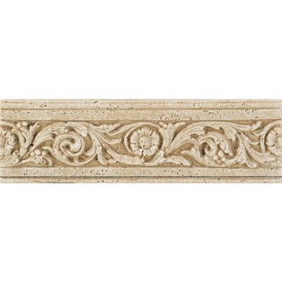 "Daltile Fashion Accents 13"" x 4"" Romanesque Decorative Listello in Flora Travertine"
