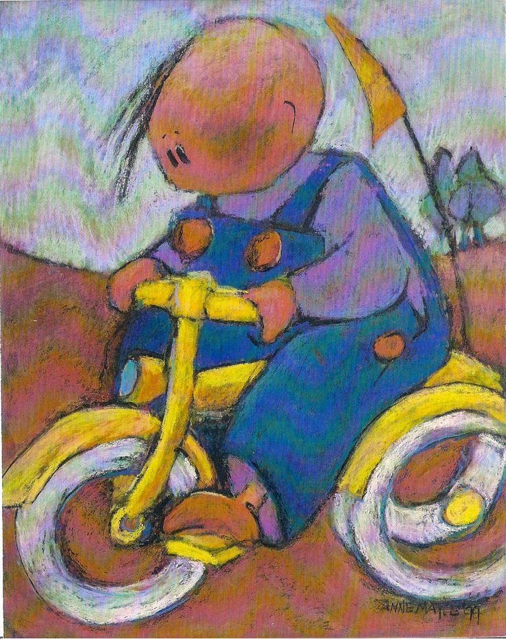Op de fiets            Pastelkrijt