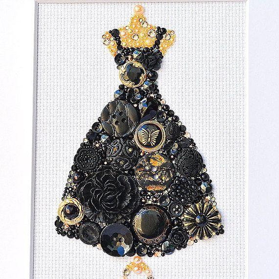 Button Art Black Dress Vintage Button Art by PaintedWithButtons