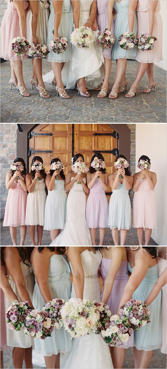 Mismatched pastel bridesmaid dresses #pastelwedding