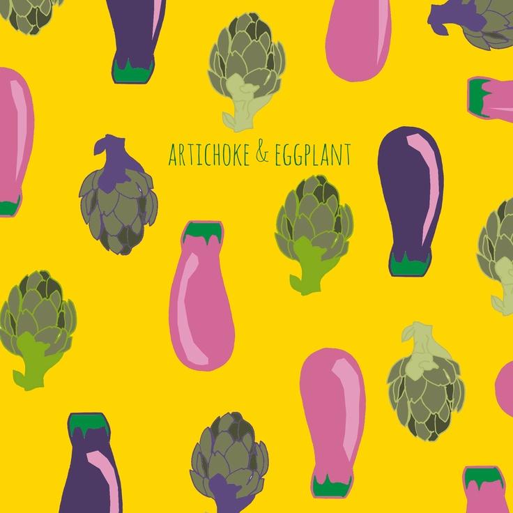 #pattern #vegs #kitchen #food #artichoke #eggplant #illustration    /by Taki Trik