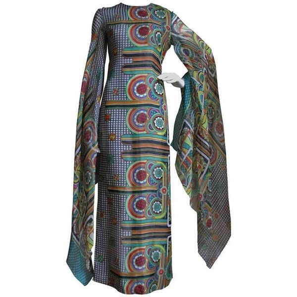 Preowned 1960's Pierre Cardin Psychedelic Angel Sleeve Dress ($3,600) ❤ liked on Polyvore featuring dresses, vintage, grey, sleeved dresses, floor length dresses, zip back dress, slit sleeve dress and silk dress