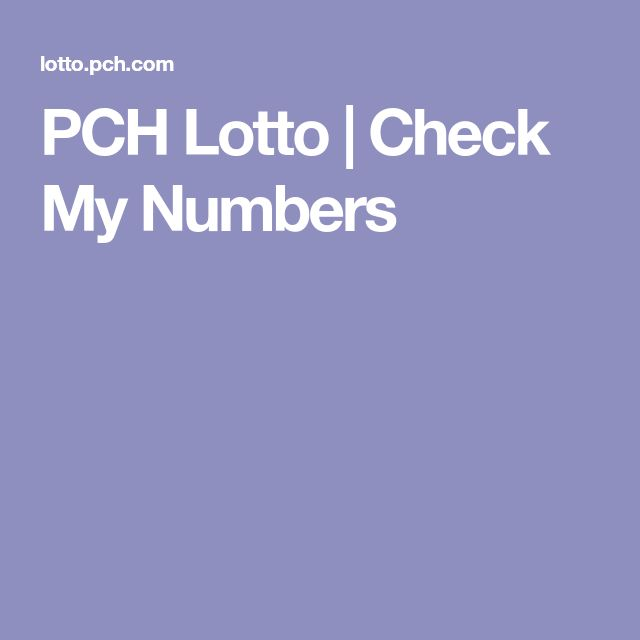 PCH Lotto | Check My Numbers