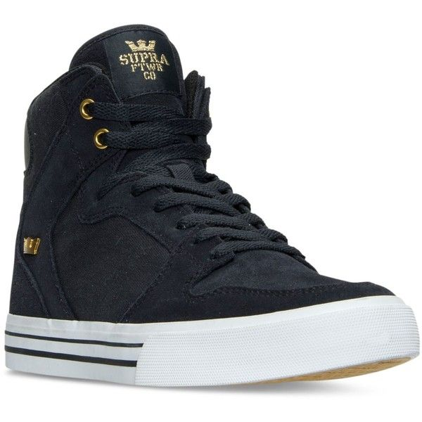 Supra Men's Vaider Casual Skate High-Top Sneakers from Finish Line ($50) ❤ liked on Polyvore featuring men's fashion, men's shoes, men's sneakers, mens shoes, supra mens shoes, mens hi tops, mens sneakers and mens high top sneakers