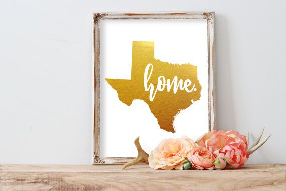 Texas Home Gold Foil Print FREE US SHIPPING by MeganPrintsPrints