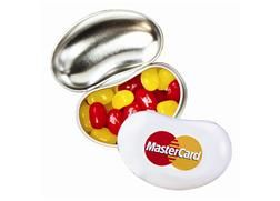 Jelly Bean Tin Containing Jelly Belly |  Your sweet promotions will really take shape with our Jelly Belly  tins! Each white or silver tin is shaped like a classic Jelly Belly (R) and holds approximately 1 oz. of the world's finest jelly beans. Choose up to 2 flavors from our 13 most popular options or fill them up with a random assortment.