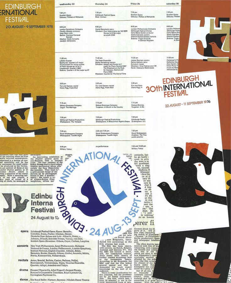 Edinburgh International Festival publicity material (1976-78). Designed by Hans and Pat Schleger (Hans Schleger Associates)