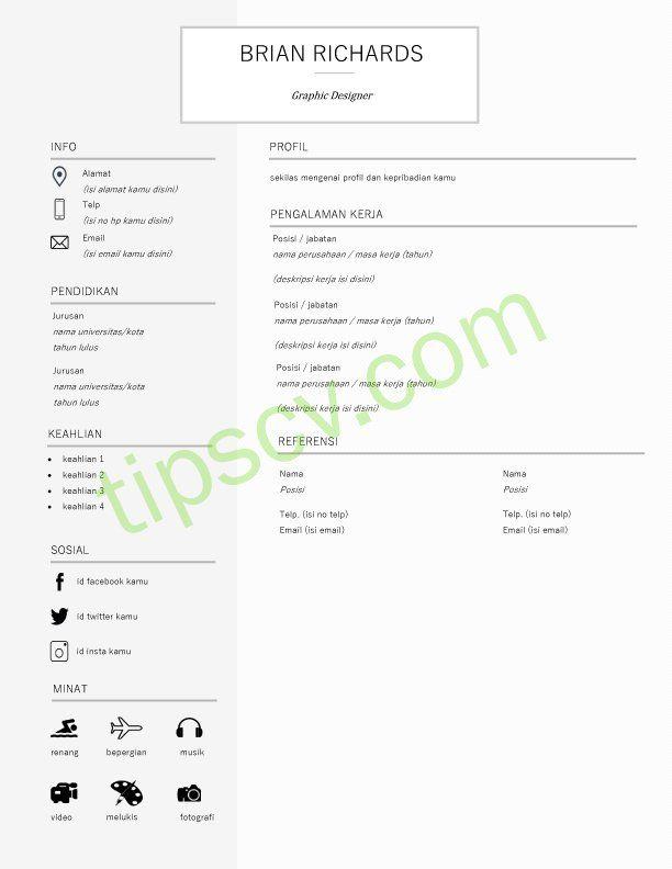 Download Format Cv Kosong Doc Di 2020 Creative Cv Template Cv Kreatif Desain Cv