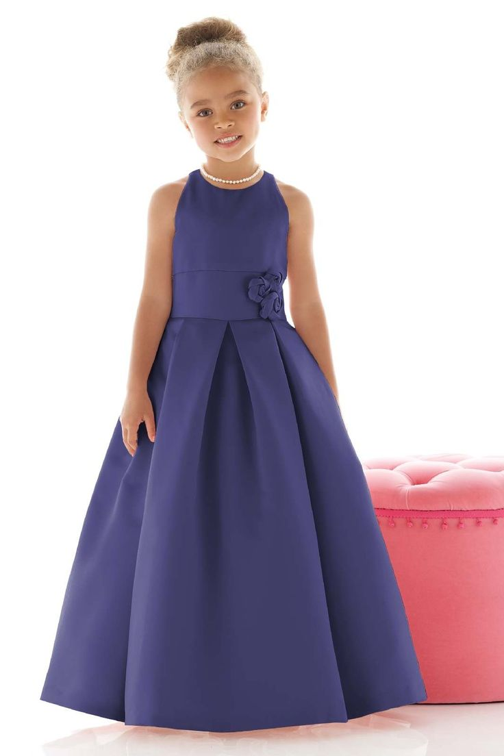 A-line Scoop Floor-length Sleeveless Satin Flowergirl Dress with Pattern