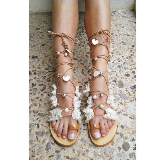 Bridal Sandals, Wedding Sandals, Beach Boho Sandals ''Dorelia''