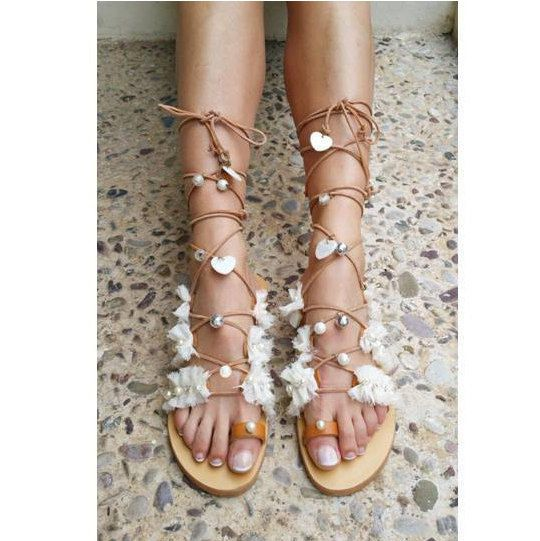 Bridal Sandals, Wedding Sandals, Beach Boho Sandals ''Dorelia''
