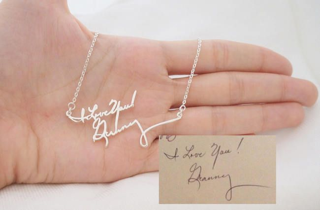 15 Stunning Handwritten Jewelry Ideas - Awesome Wedding Gift or Bridesmaid Gift //Signature Handwritten Necklace. Crafted by store Silver Handwriting, this handwritten necklace is created using a phrase written in your own handwriting. This is such an awesome gift idea for your maid of honour, mother or, (if you're a groom reading this) for the bride herself!