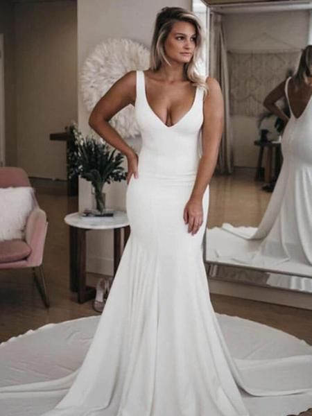 Mermaid Deep V-Neck Two Straps Open Back White Sweep Train Wedding Dresses,VPWD380