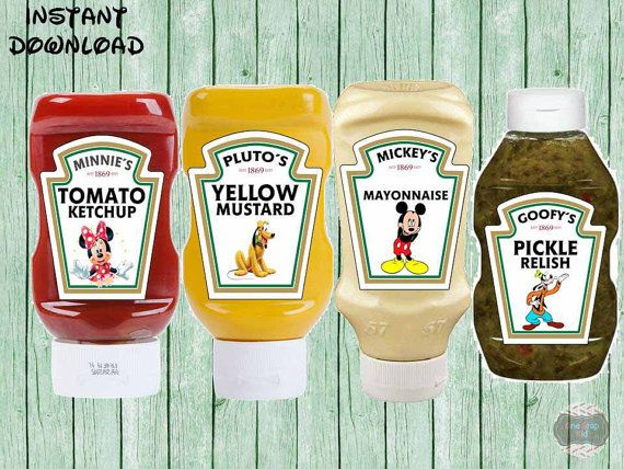 Disney Mickey Clubhouse Condiment Labels Ketchup by ...