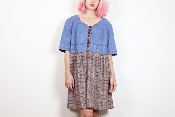 Vintage 1990s Dress Chambray Denim Blue Jean by ShopTwitchVintage